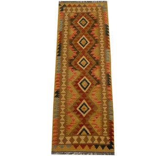 Herat Oriental Afghan Hand-woven Vegetable Dye Wool Kilim Runner (2'3 x 6'3)