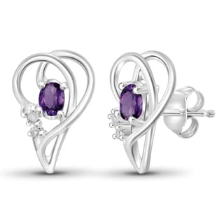 Jewelonfire 0.50 CTW Amethyst Gemstone & Accent White Diamond Earring in Sterling Silver