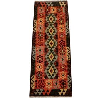 Herat Oriental Afghan Hand-woven Vegetable Dye Wool Kilim Runner (2'2 x 5'9)