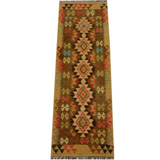 Herat Oriental Afghan Hand-woven Vegetable Dye Wool Kilim Runner (2'3 x 6'10)