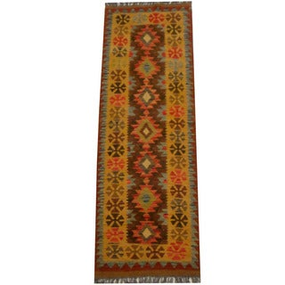 Herat Oriental Afghan Hand-woven Vegetable Dye Wool Kilim Runner (2'2 x 6'5)