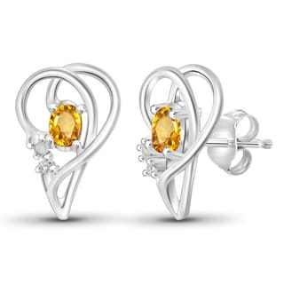 Jewelonfire 0.44 CTW Citrine Gemstone & Accent White Diamond Earring in Sterling Silver
