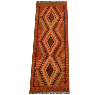 Herat Oriental Afghan Hand-woven Vegetable Dye Wool Kilim Runner (2'4 x 6'4)