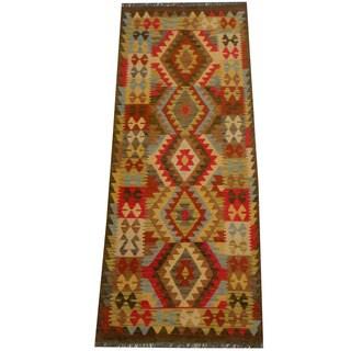 Herat Oriental Afghan Hand-woven Vegetable Dye Wool Kilim Runner (2'9 x 6'10)