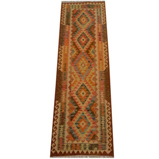 Herat Oriental Afghan Hand-woven Vegetable Dye Wool Kilim Runner (2'7 x 8'2)