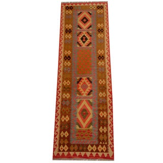 Herat Oriental Afghan Hand-woven Vegetable Dye Wool Kilim Runner (2'6 x 8'1)