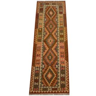 Herat Oriental Afghan Hand-woven Vegetable Dye Wool Kilim Runner (2'9 x 8'1)