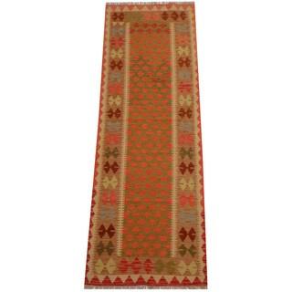 Herat Oriental Afghan Hand-woven Vegetable Dye Wool Kilim Runner (2'10 x 8'2)