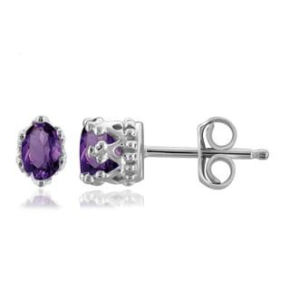Jewelonfire Sterling Silver 1/2ct TGW Amethyst Crown Stud Earrings