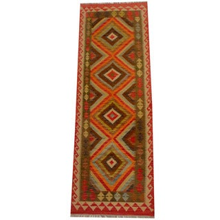 Herat Oriental Afghan Hand-woven Vegetable Dye Wool Kilim Runner (2'7 x 7'7)