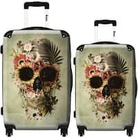 iKase 'Flower Skull Art' 2-piece Fashion Hardside Spinner Luggage Set