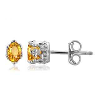 Jewelonfire 0.44 CTW Citrine Gemstone Crown Stud Earring in Sterling Silver