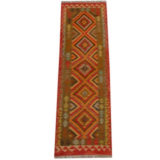 Herat Oriental Afghan Hand-woven Vegetable Dye Wool Kilim Runner (2'5 x 7'8)
