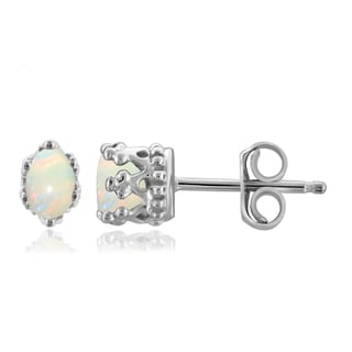 Jewelonfire Sterling Silver 1/3ct TGW Opal Crown Stud Earrings