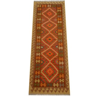 Handmade One-of-a-Kind Vegetable Dye Wool Kilim Runner (Afghanistan) - 2'11 x 8'3