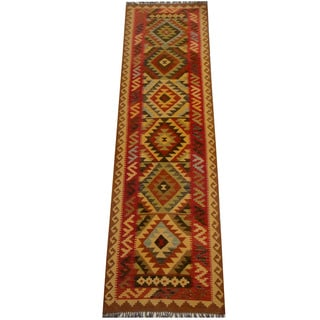 Herat Oriental Afghan Hand-woven Vegetable Dye Wool Kilim Runner (2'11 x 9'11)