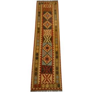 Herat Oriental Afghan Hand-woven Vegetable Dye Wool Kilim Runner (2'7 x 9'11)