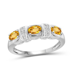 Jewelonfire Sterling Silver 5/8ct TGW Citrine and Diamond Accent Ring