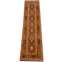 Herat Oriental Afghan Hand-woven Vegetable Dye Wool Kilim Runner - 2'8 x 9'7