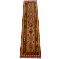 Herat Oriental Afghan Hand-woven Vegetable Dye Wool Kilim Runner - 2'7 x 9'10