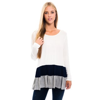Women's White Color Block Rayon Shirt