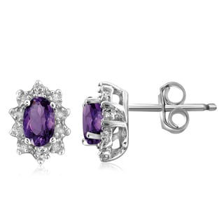 Jewelonfire Sterling Silver 5/8ct TGW Amethyst and Diamond Accent Earrings