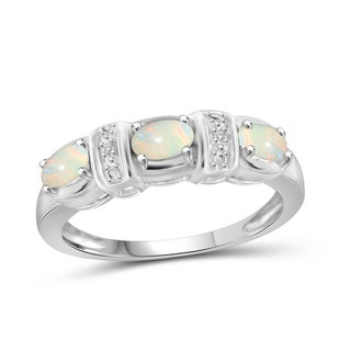 Jewelonfire Sterling Silver 2/5ct TGW Opal and Diamond Accent Ring