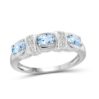 Jewelonfire Sterling Silver 7/8ct TGW Sky Blue Topaz and Diamond Accent Ring