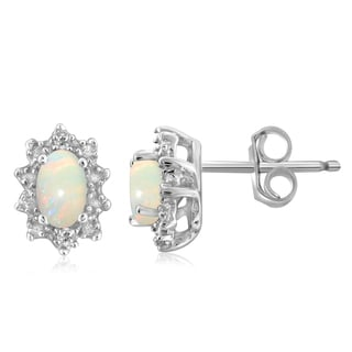 Jewelonfire Sterling Silver 1/3ct TGW Opal and Diamond Accent Earrings