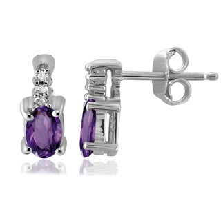 Jewelonfire Sterling Silver 1/2ct TGW Amethyst and Diamond Accent Earrings