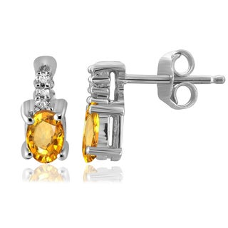 Jewelonfire Sterling Silver 1/2ct TGW Citrine and Diamond Accent Earrings