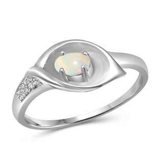 Jewelonfire Sterling Silver 1/6ct TGW Opal and Diamond Accent Calla Lily Flower Ring