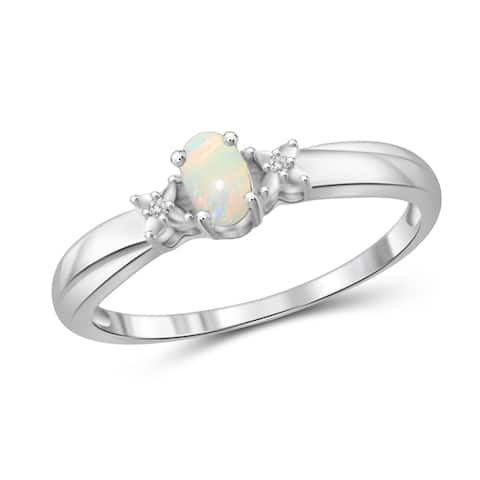 Jewelonfire Sterling Silver 1/6ct TGW Opal and Diamond Accent Ring - White