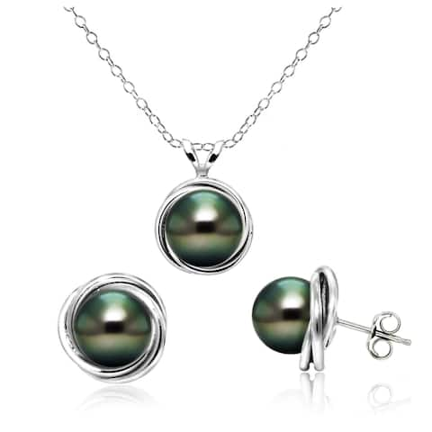 DaVonna Sterling Silver Black Tahitian Pearl Love Know Pendant and Stud Earrings Set