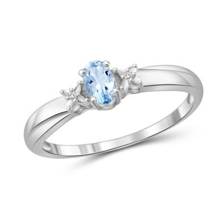 Jewelonfire Sterling Silver 1/3ct TGW Sky Blue Topaz and Diamond Accent Ring