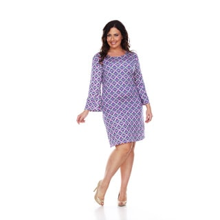 White Mark Women's Plus Size Purple Metrix 'Joanna' Dress