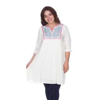 White Mark Women's Plus-size 'Marcella' Embroidered Dress