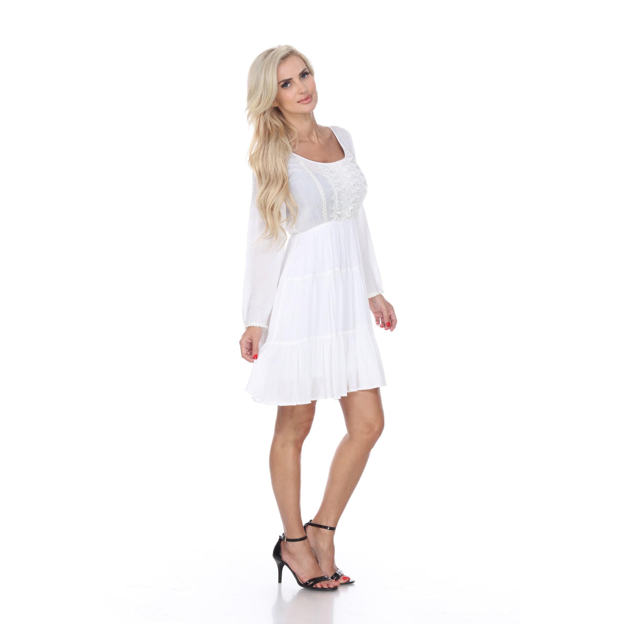 White Mark Women's 'Anema' Embroidered Dress (White - S) ...