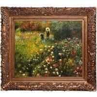 Pierre-Auguste Renoir 'Woman with a Parasol in a Garden' (Frau mi Sonnenschirm) Hand Painted Framed Canvas Art