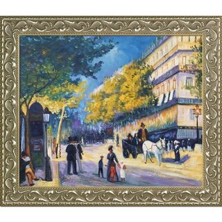 Pierre-Auguste Renoir 'The Great Boulevards, 1875' Hand Painted Framed Canvas Art