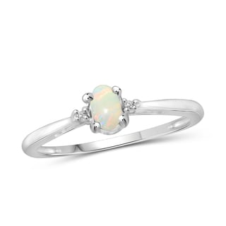 Jewelonfire Sterling Silver 1/6ct TGW Opal and Diamond Accent Ring