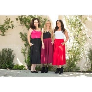 White Mark Women's Plus 'Tasmin' Flare Midi Skirt