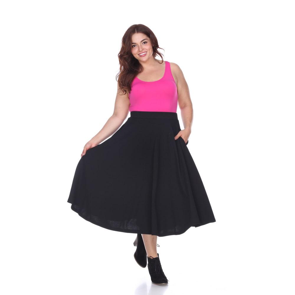 White Mark Womens Plus Tasmin Flare Midi Skirt