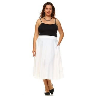 White Mark Women's Plus 'Tasmin' Flare Midi Skirt