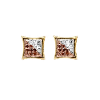 Elora Sterling Silver 1/10ct TW Red and White Round Diamond Micro Pave Setting Kite Shape Stud Earrings (I