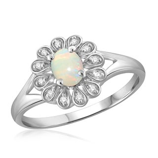 Jewelonfire Sterling Silver 1/6ct TGW Opal and Diamond Accent Flower Ring