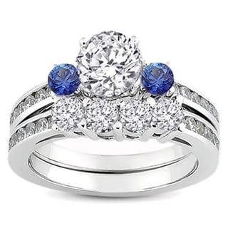 14k White Gold 1 1/6ct TW Round Blue Sapphire and White Diamond Bridal Engagement Ring Set (H-I, I1-I2)