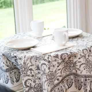 Black and White Floral Hand Block Printed Tablecloth (India)