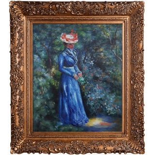 Pierre-Auguste Renoir 'Woman in a Blue Dress, Standing in the Garden of St. Cloud' Hand Painted Framed Canvas Art