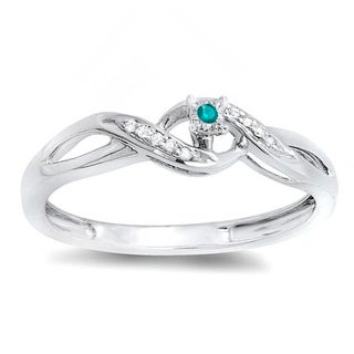 Elora Sterling Silver 1/20ct TW Round Blue and White Diamond Crossover Bridal Promise Promise Rin